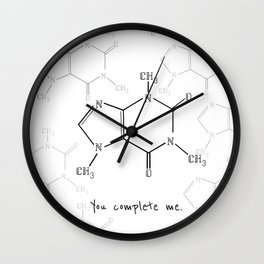 You Complete Me (Caffine Molecule) Wall Clock