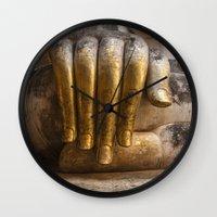 buddhism Wall Clocks featuring Golden Hand of a Buddha in Wat Sri Chum Thailand by Maria Heyens