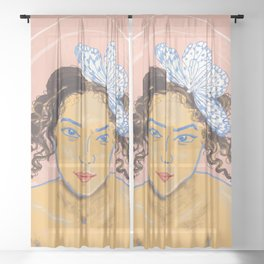 Summertime Woman and Butterfly Sheer Curtain