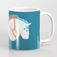 unicorns Mugs featuring Fat Unicorn on Rainbow Jetpack by Picomodi