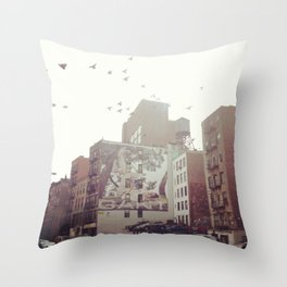 Birds Over Soho Throw Pillow