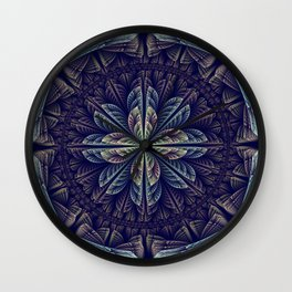 Fantasy flower bud opening up, fractal abstract Wall Clock
