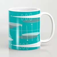 mid century modern Mugs featuring Mid-Century Modern Ovals Teal by Kippygirl