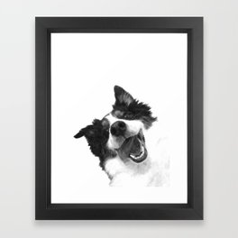 Black and White Happy Dog Framed Art Print