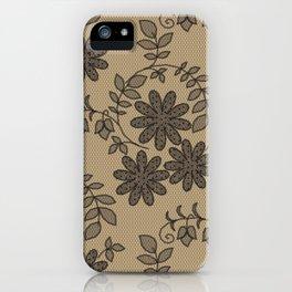 Crochet pattern, black lace on beige background iPhone Case