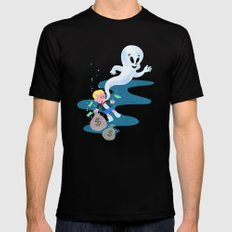 Where do friendly ghosts come from? Black MEDIUM Mens Fitted Tee