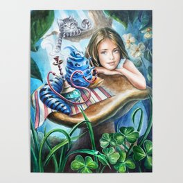 Alice and blue caterpillar Poster