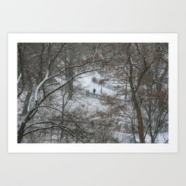 Snow in Tompkins Square Park. East Village. New York. Art Print