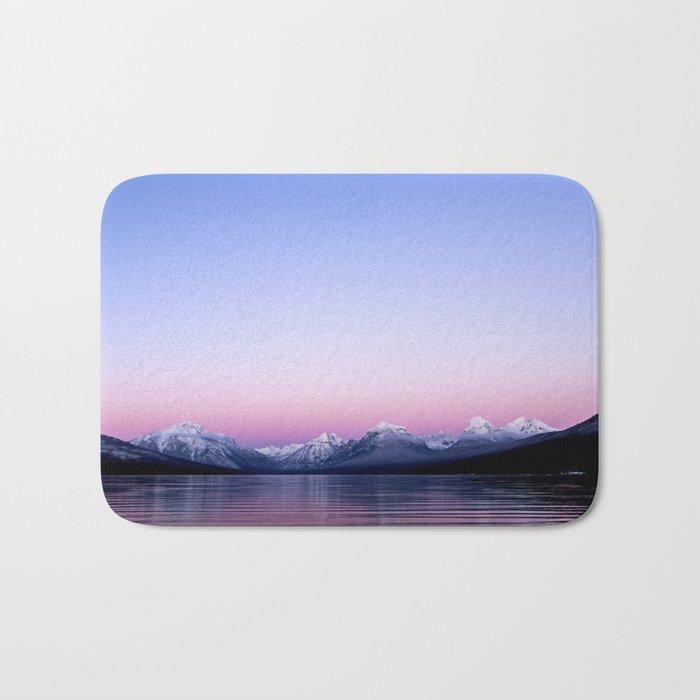 pastel mountain lake sunset Bath Mat