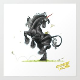 Goodnight Unicorn Jet Black Art Print