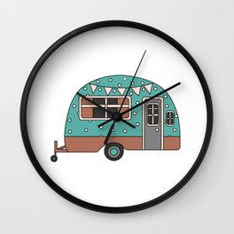 Campervan with bunting. Wall Clock