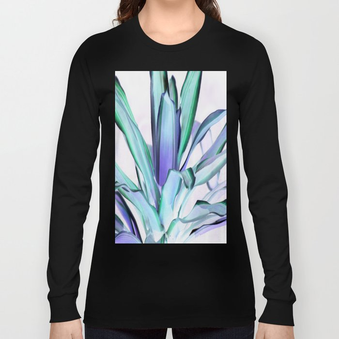 Periwinkle Lavender Seafoam Aloe Leaves Abstract Long Sleeve T-shirt