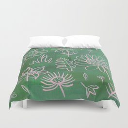 Pink Nature on Green Duvet Cover