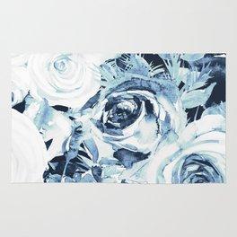 Blue White Winter Roses Rug