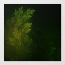 Beautiful Fractal Pines in the Misty Spring Night Canvas Print