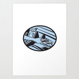 Hand Reaching in Glove Box for Energy Bar Oval Woodcut Art Print
