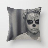 dia de los muertos Throw Pillows featuring Dia de los muertos by Brandy Coleman Ford