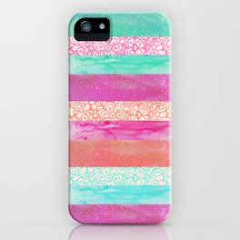 Tropical Stripes - Pink, Aqua And Peach Colorway iPhone Case