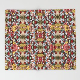 Rose buds and floral decorative Throw Blanket