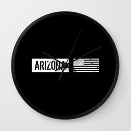 Black & White U.S. Flag: Arizona Wall Clock