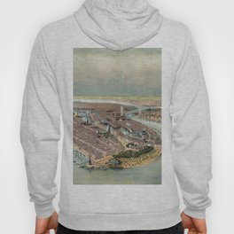 Vintage Map Print - Bird's Eye View of New York City (1874) Hoody