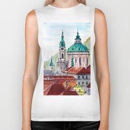 Prague Czech Republic watercolor Biker Tank