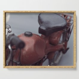Old motorcycle, vintage, fine art photography, man cave wall decoration, motorbike still life Serving Tray