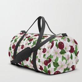 Blush pink burgundy cherries blossom floral pattern Duffle Bag
