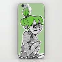 bianca green iPhone & iPod Skins featuring green by art of Bianca