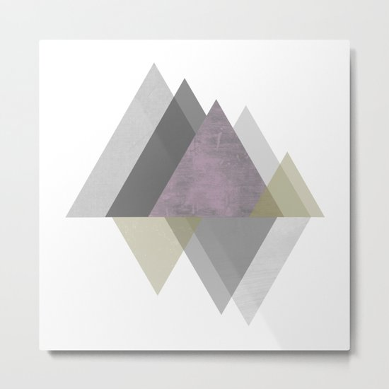 To the Mountains I Must Go, Abstract Geometric Art Metal Print