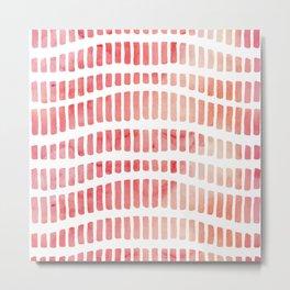 Modern coral pink watercolor hand painted brushstrokes Metal Print