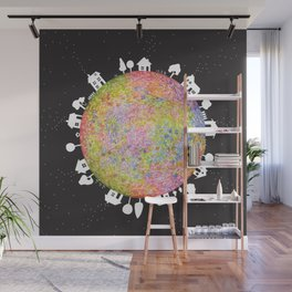 Flower Planet, watercolor painting house Wall Mural