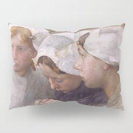 Pieter de Josselin de Jong - Three Girls from Scheveningen - Dutch Victorian Retro Vintage Oil Paint Pillow Sham
