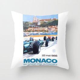 1966 MONACO Grand Prix Racing Poster Throw Pillow