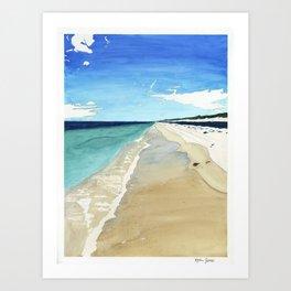 A Walk on the Beach Painting Art Print