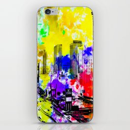 building of the hotel and casino at Las Vegas, USA with blue yellow red green purple painting abstra iPhone Skin