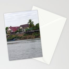 Colonial Houses on the Mekong River, Laos Stationery Cards