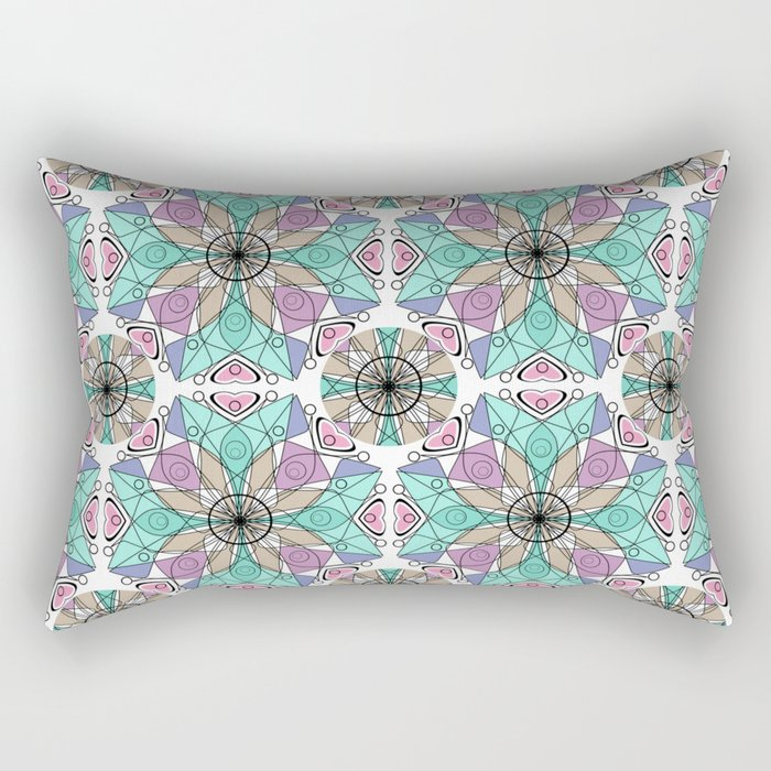 Turquoise pink abstract pattern . Rectangular Pillow