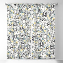 Dogs and Daisies on Grey Blackout Curtain