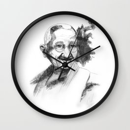 Will & Strength (Ghandi) by carographic Wall Clock