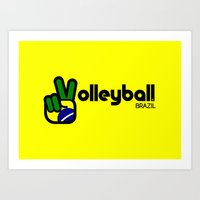volleyball Art Prints featuring Volleyball Brazil by Skylar 83