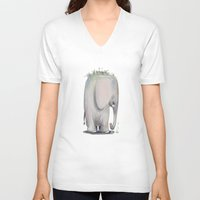baby elephant V-neck T-shirts featuring Baby Elephant by Corner HL