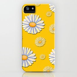 Tossed White Daisies Yellow Background iPhone Case