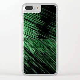 Line art - the Scratch, green lines on black canvas pattern, geometric artwork, asymetric stripes Clear iPhone Case