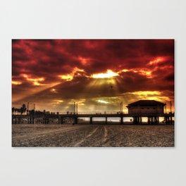 Orange Sunrise At H.B. Pier Canvas Print