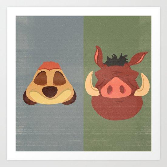 Timon and Pumbaa Art Print
