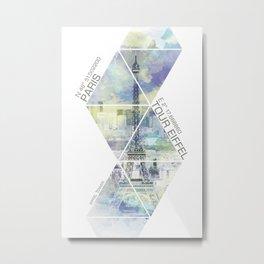 Paris EIFFEL TOWER COORDINATES | jazzy watercolor Metal Print