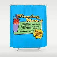 simpsons Shower Curtains featuring The Simpsons: Flaming Moe by dutyfreak