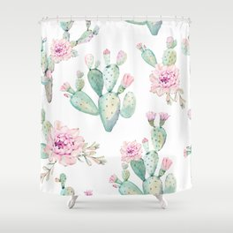 Simply Cactus Rose Shower Curtain
