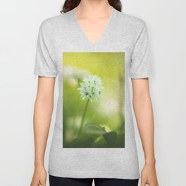 #Green #white #spring #flower of #nature Unisex V-Neck